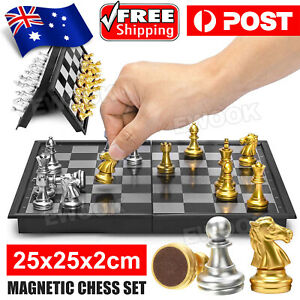 Foldable Magnetic Silver & Gold Chess & Checkers Fun Board Game Set Travelling