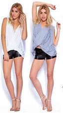 Womens Ladies New Crossover Twist Gathered Pleat Sleeveless Top 8-14