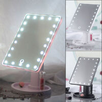 Portable 22 LEDs Lighted Touch Screen Makeup Cosmetic Mirror Tabletop Bathroom