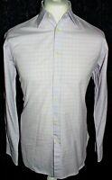 """CHARLES TYRWHITT Mens Purple Check Long Sleeved Shirt Size 15.5"""" 33in 39 84cm"""