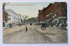 Old postcard Elm Street, Looking North, Manchester, N.H.