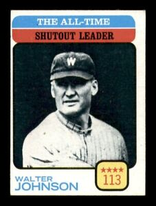 1973 Topps Set Break # 476 Walter Johnson Shutout Leader EX-MINT *OBGcards*