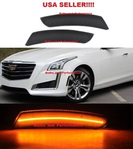Smoked Lens Amber LED Front Side Marker Lights for 2014-2017 Cadillac CTS CTS-V