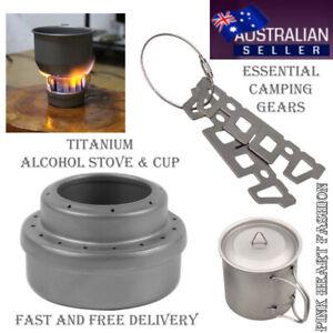 2021 Titanium Alcohol Stove Titanium Rack Water Cup Outdoor Camping Cooking Tool
