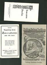 THE ZON-O-PHONES, GRAM-0-PHONE PRICE LIST, TALKING MACHINES CATALOG -REPRINT