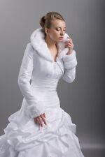 E70 Bolero Brautjacke Brautbolero Satin Kunstfell langarm Hochzeit Winter NEU