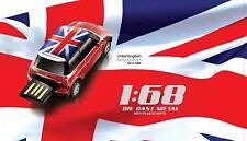 AutoDrive Mini Cooper UK Flag Car 8 GB USB Flash Drive  Memory Stick (Red)