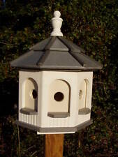 Amish Handcrafted Poly Gazebo Birdhouse Yard Garden Gray & White