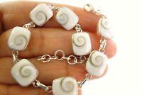 Square Shiva Eye Seashell Sea Shell 925 Sterling Silver Link Bracelet