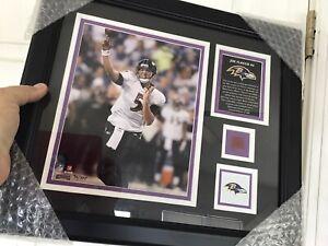 Baltimore Ravens/Philadelphia Eagles Joe Flacco 12x15-Framed-Game Used Ball Piec