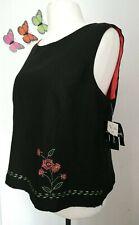 Sag Harbor Missy Black Flower Embroidery Linen Cami Vest Top Sz18 UK 20 folk art