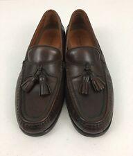 JOHNSTON MURPHY PASSPORT Tassel Loafer Brown Leather Slip On Shoe Sz 10 M Italy