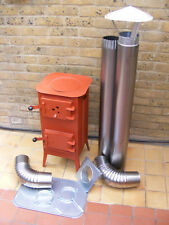 SET CHEAP SOLID RED WOODBURNING STOVE, WOOD LOG BURNER, COAL MULTIFUEL