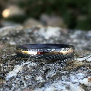 Damascus Steel Wedding Band With Purple Rain Sleeve And 14k Off-Center Rose Gold