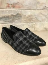 NIB Chanel 16K Black Grey Tweed Leather CC Cap Toe Mule Loafer Moccasin Flats 41