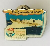 The Queensland Coast Sydney 2000 Olympics Torch Relay Pin Badge Vintage (J9)