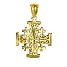 14K YELLOW GOLD JERUSALEM CROSS Pendant / Charm, Made in USA