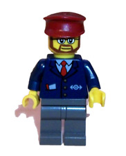 LEGO Train Minifigure Driver Conductor Railway Worker Ticket Guard Station 7938