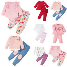 Newborn Toddler Baby Kid Girl Long Sleeve Tops + Pants Casual Outfit Clothes Set