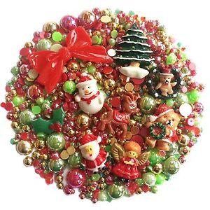 CHRISTMAS Mix Pack Flatback Cabochons & Pearl Diamantes Embellishment Decoden
