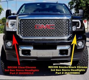 "Recon 14-16 GMC sierra headlights clear/chrome projector halo ""U"" bar"