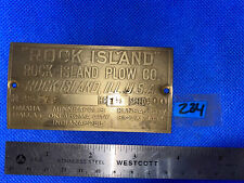 1 1/2 Hp Rock Island Name Tag Plate Hit Miss Engine Antique Brass