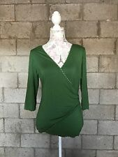 Womens Green Max Studio Long Sleeve Blouse Top Large (1N)
