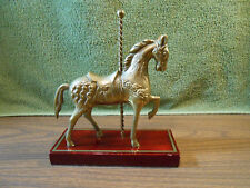 Vintage Solid Brass Carousel Horse Figurine Solid Wooden Base