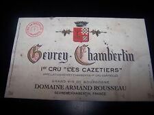 etiquette vin Gevrey Chambertin 1er cru Cazetizers Armand Rousseau wine label