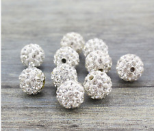 20 Pcs Crystal Beads Pave Disco Balls 10MM