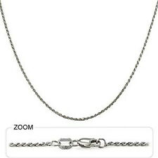 "3.20 gm 14k White Gold Diamond Cut Rope Women's / Men's Chain Necklace 20"" 1 mm"