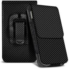 NEGRO FIBRA DE CARBONO Cinturón Clip Soporte Funda para HTC ONE A9