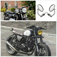2 Pcs Motorcycle Handlebar Chrome Stainless Steel Round Mirrors 360° Rotataion