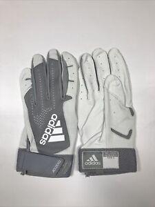 Men's Gray and White Adizero 4.0 Adidas Batting Gloves Size 2XL New