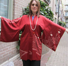 vtg40s/ red silk ladies haori, jacket, 1 size,white kanoko shibori/lined/Taisho