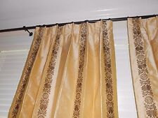 """Silk drapes embroidered fabric brown on butter gold pleated top 96"""" long PAIR"""