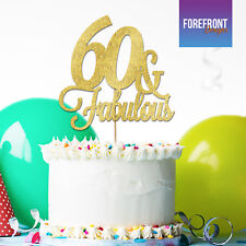 Personalizzata 60TH COMPLEANNO GLITTER cake topper Anniversario qualsiasi età/Testo/
