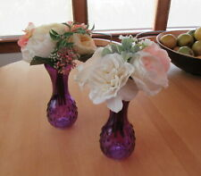 Purple glass vases set of 2 - wedding shower party centerpieces