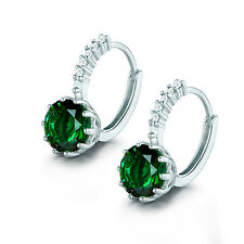 18K White Gold Filled Round Shape Green Emerald Women's Wedding Hoop Earrings