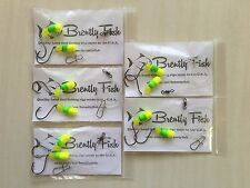 5 double hook fishing rigs with yellow/green floats