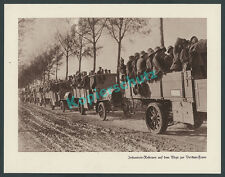 Photo Troop Transport Car Truck WW Steel Helmet Battle VERDUN Western Front 1916