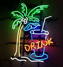 "17""x14"" Drink Palm  Beer Bar Real Glass Neon Light Pub Club Store Custom Sign"