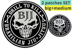 Jiu Jitsu Gi Patches Set of 2 Big and Medium size Drill to Kill