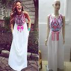 Womens Boho Bohemian Long Maxi Dress Party Summer Casual Holiday Beach Sundress