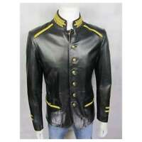 Mens Leather Black Gold Rock Fashion Button Long Jacket