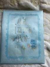 "1969 Vintage Hallmark Blue Satin Baby Book ""Our Little Boy� Preowned, Never Used"