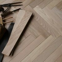 Classic Ash Engineered Herringbone Parquet Prime Grade Unfinished Flooring HF1A