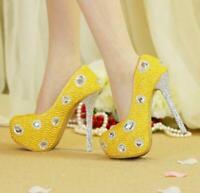 Womens High Heels Platform Pumps Round Toe Pearl Rhinestone Shiny Wedding Shoes