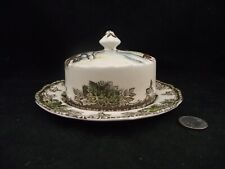 THE FRIENDLY VILLAGE BUTTER DISH WITH UNDERPLATE  MADE IN ENGLAND