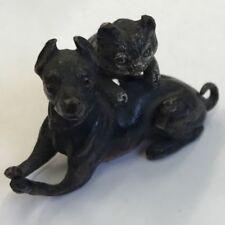 Antique Austrian Cold painted bronze Cat & Dog manière de Bergman GESCHUTZT Mark